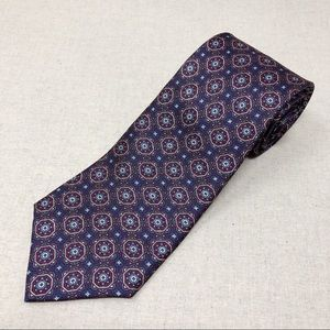 Vintage Plum Purple Silk Tie w/ Medallion Print